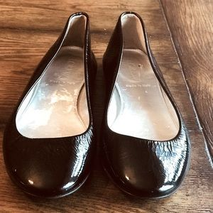 J CREW BLACK LEATHER FLATS SIZE 6.5 MADE IN ITALY